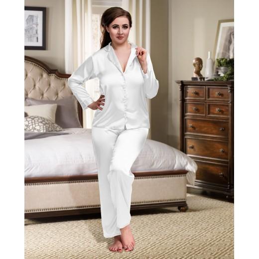 plus size-084 White Plus Size Satin Pyjama Set Long Sleeve Nightwear S-6XL New Arrivals-Nine X