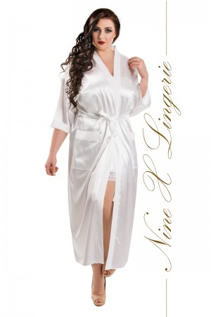 011 White Satin Full Length Dressing Gown  S-7XL