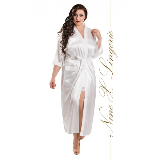 plus size-011 White Satin Full Length Dressing Gown  S-7XL Dressing Gowns-Nine X
