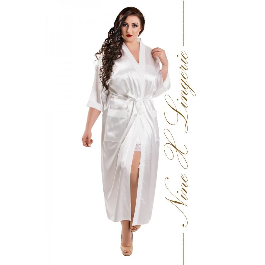 011 White Satin Full Length Dressing Gown S-7XL