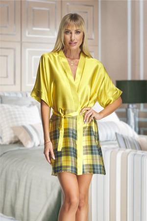2134 Yellow Tartan Satin Robe