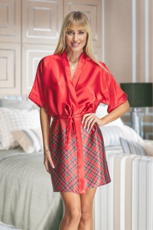 2134 Red/small Tartan Satin Robe