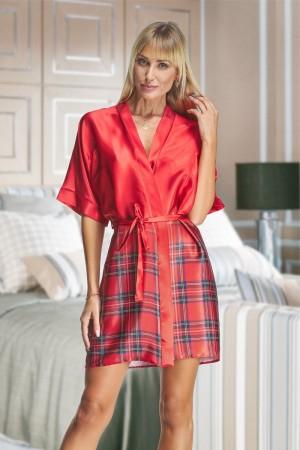 2134 Red Tartan Satin Robe