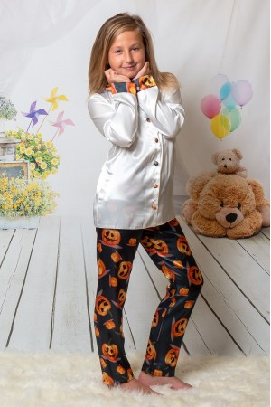 107/2 Halloween Pumpkins Boys Girls Kids Satin Long Sleeve Pyjamas pj's Nightwear