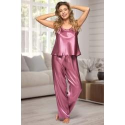0842 Mauve Women's satin pyjama bottoms and cami top