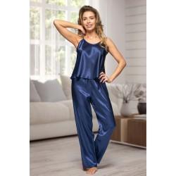 0842 Navy Women's satin pyjama bottoms and cami top