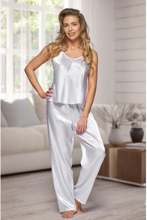 0842 White Women's satin pyjama bottoms and cami top