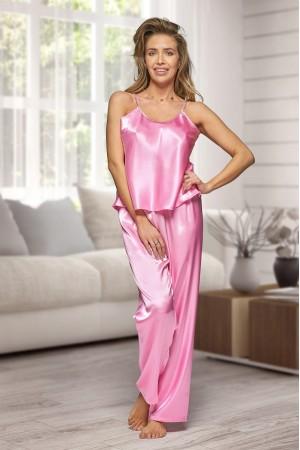 0842 Baby Pink Women's satin pyjama bottoms and cami top