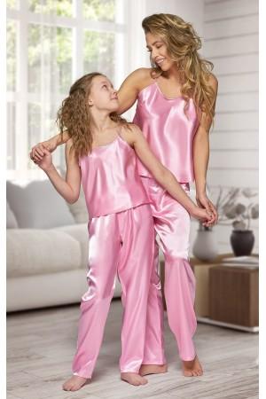 0842 Baby Pink girls satin pyjama bottoms and cami top