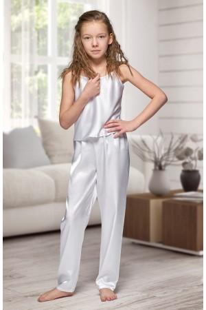 0842 White girls satin pyjama bottoms and cami top
