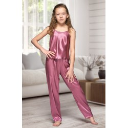 0842 Mauve girls satin pyjama bottoms and cami top