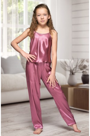 0842 Mauve girls satin pyjama bottoms and cami top