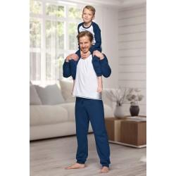 130 Kids navy/white long pyjama set 100% Cotton