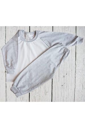 130 Grey/ white long pyjama set 100% Cotton