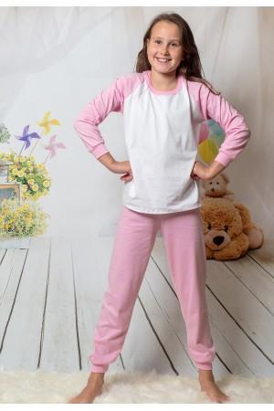 130 baby pink/white long pyjama set 100% Cotton
