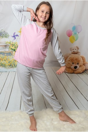 130 grey/baby pink long pyjama set 100% Cotton ***Discontinued***