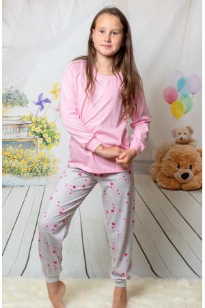 130 baby pink/hearts long pyjama set 100% Cotton