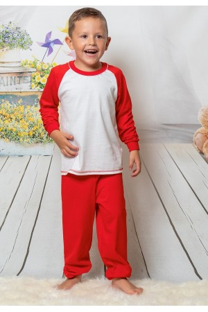 130 Kids Red/ white long pyjama set 100% Cotton