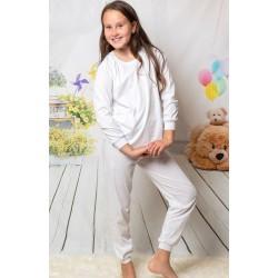 130 Kids white long pyjama set 100% Cotton