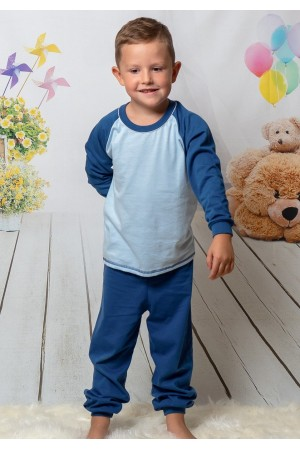 130 navy/blue long pyjama set 100% Cotton
