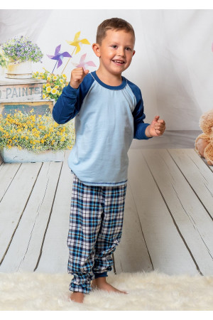 130 Kids navy/tartan long pyjama set 100% Cotton ***Discontinued***