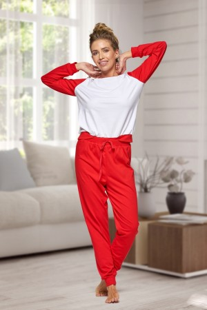 130 Women's Red/white Nine X 100% Cotton Pyjama Set