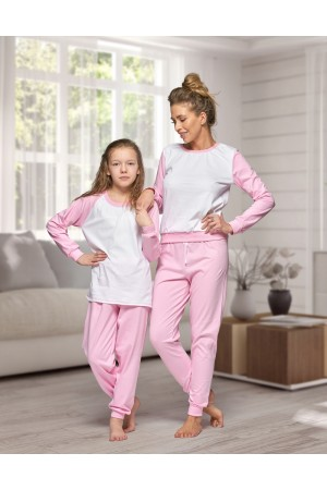 130 Women's Baby pink/white Nine X 100% Cotton Pyjama Set