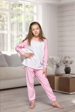 130 Kids baby pink/white long pyjama set 100% Cotton