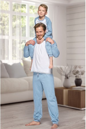 130 Kids Light blue/ white long pyjama set 100% Cotton
