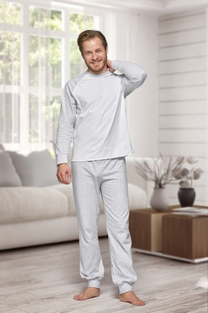 130 Men's Grey/white Nine X 100% Cotton Pyjama Set