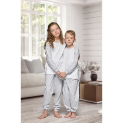 130 Kids Grey/ white long pyjama set 100% Cotton