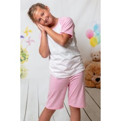 140 Kids baby pink/white short pyjama set 100% Cotton