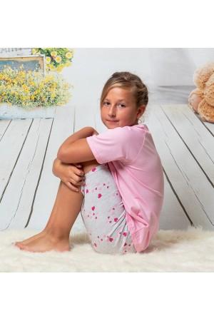 140 baby pink/hearts short pyjama set 100% Cotton
