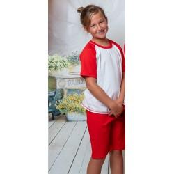140 Kids red/white short pyjama set 100% Cotton