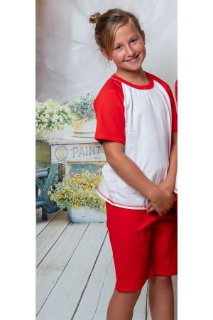 140 Kids red/white short pyjama set 100% Cotton