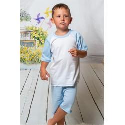 140 Kids light blue/white short pyjama set 100% Cotton