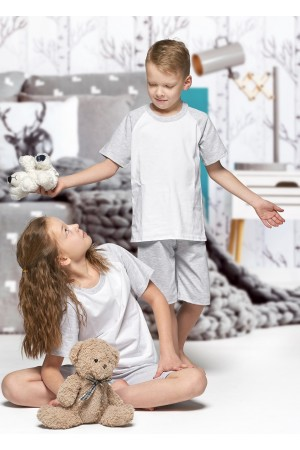 140 Kids grey/white short pyjama set 100% Cotton