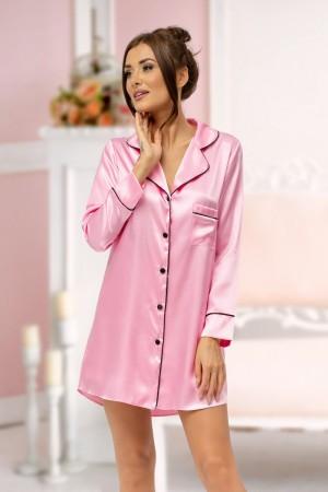 217 Baby Pink satin shirt with piping