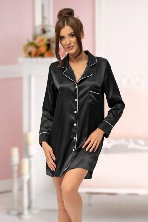 217 Black satin shirt with piping