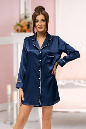 217 Navy satin shirt with piping