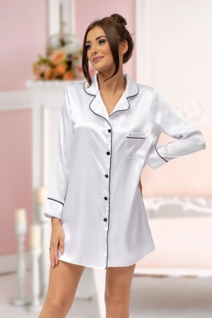 217 White satin shirt with piping