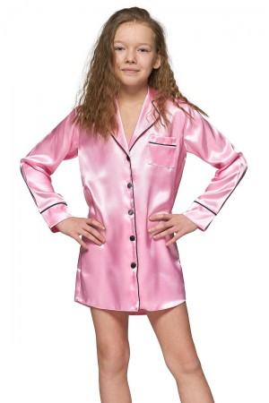 227 Baby Pink Kids Satin Night Shirt with piping