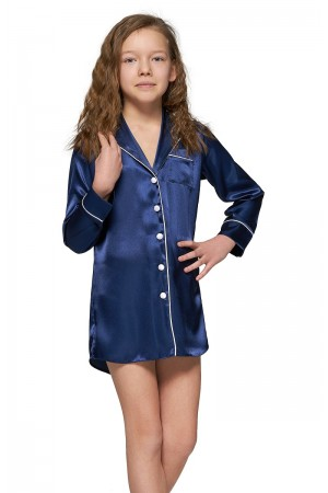 227 Navy Kids Satin Night Shirt with piping