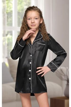 227 Black Kids Satin Night Shirt with piping