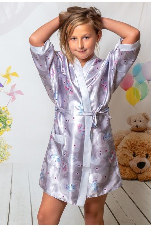 3107/2 unicorns girls satin dressing gown size 2-13yrs