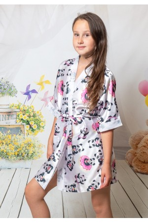 3107/4 panda girls satin dressing gown size 2-13yrs