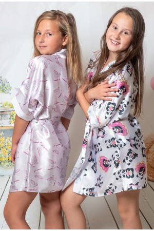 3107/1 butterflies girls satin dressing gown size 2-13yrs