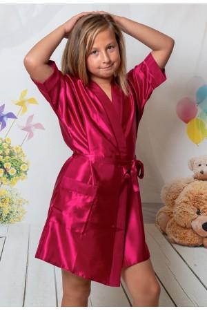 3107 Burgundy  Children Satin Robe