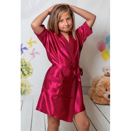 plus size-3107 Burgundy  Children Satin Robe Dressing Gowns-Nine X