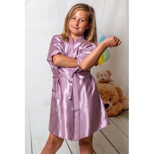 plus size-3107 Dusty Rose Children Satin Robe Dressing Gowns-Nine X